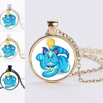 2017 Summer Jewelry Lovely Cat Glass Cabochon Necklaces For Women Handmade DIY Lucky Cat Maneki Neko Necklaces Best Friends Gift