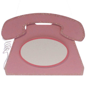 Child Related TELEPHONE ROOM PLAQUE Wood Pink WTEL