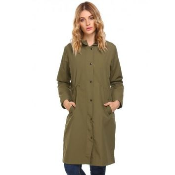 Women Waterproof Militray Anorak Long Sleeve Long Parka Hooded Coat