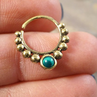 18 Gauge Brass Septum Ring Hoop with Green Malachite Gemstone