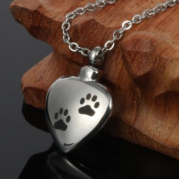 Dog Paw Heart Cremation Jewelry Pendant Urn Necklace keepsake Pet Ash Holder