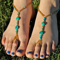 Shiny Stylish Jewelry New Arrival Cute Gift Ladies Sexy Summer Vintage Turquoise Handcrafts Stretch Anklet [8527532231]