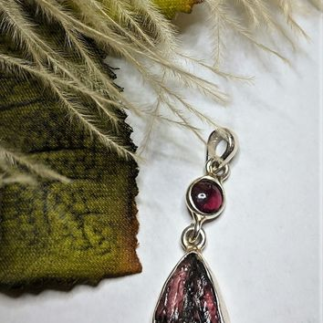 Artisan Crafted Sterling Silver Raw Watermelon Tourmaline Ruby Pendant