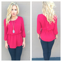 Red Back Button Peplum Blouse