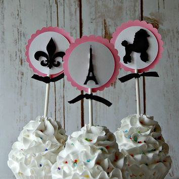 Paris Themed Birthday Party Cupcake Toppers (set of 12)