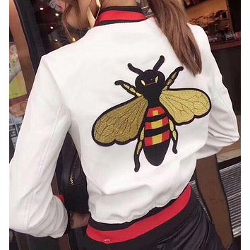 GUCCI Bee Embroidery Leather Long Sleeve Cardigan Jacket Coat White