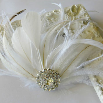 Ivory White Bridal Headpiece, Bridal Fascinator, Wedding Hair Clip, Bridal Hair Accessories, Feather fascinato