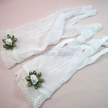 White Gloves, white fishnet gloves, Formal/Occasion gloves, Bridal/Flower Girl gloves