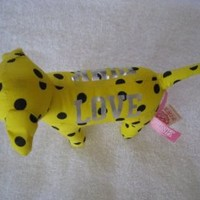 "Victoria's Secret ""Love"" Yellow Polka Dot Plush Dog"