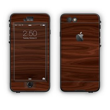 The Dark Brown Wood Grain Apple iPhone 6 Plus LifeProof Nuud Case Skin Set
