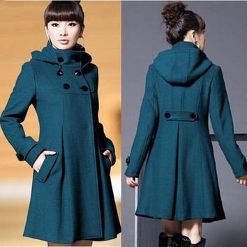 Autumn and Winter Coat Wool Double-Breasted Outerwear Wool Coat Women Medium-Long Coat Wool Coat WL0609 (US Size) = 1929629892