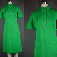 70s Dress Vintage 1970s Mod Bright Kelly Green Butte Knit Short Sleeve Mod Stewardess B 38""