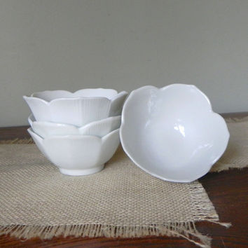 Vintage four small lotus bowls - porcelain 3 and one half inches diameter