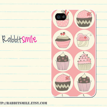 iPhone 5 Case, iPhone 4 case, iPhone 4s Cover , iPhone 5S Case Hard Plastic iphone 5 Cover, cases -- Pink Cupcake