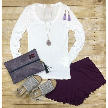 Always On Time Ruffled Shorts: Plum
