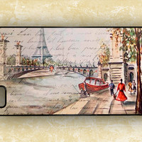 Iphone 4 case - Old Paris postcard with Eiffel tower, Iphone 4s cover, Iphone 5 case (9665)