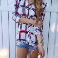 Navy + Red Plaid Top
