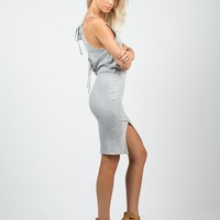 Ribbed Open Back Dress