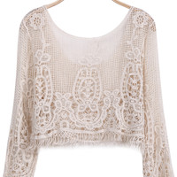 Embroidered Lace Apricot Blouse
