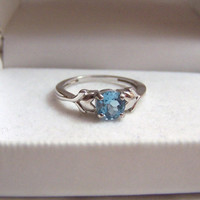Blue Topaz Ring Sterling Authentic Vintage Altered Genuine Swiss Gemstone Heart Detail