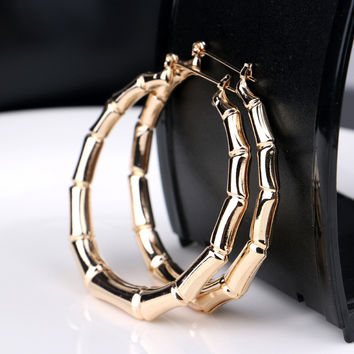Fashion Punk Old School Gold Tone Bamboo Big Hoop Hiphop Large Circle Earrings ER906