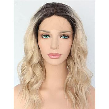 Short Light Golden Coast Wave Bob Synthetic Lace Front Wig