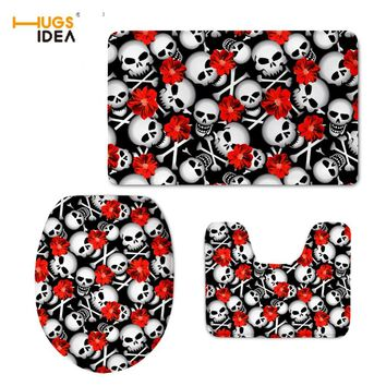 HUGSIDEA Skull Design Home Hotel Decor 3PCS Set Bathroom Warm Lid Pads Non-slip Floor Carpet for WC Toilet Area Rugs Tapis Mats