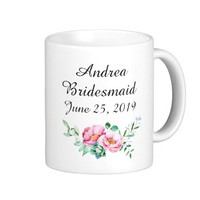 Watercolor Floral Bridesmaid Wedding Coffee Mug