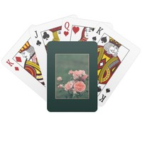 Beautiful pink roses on a natural green background playing cards