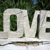 Freestanding Book Page LOVE Sign Word Art Wedding Decoration