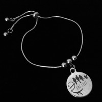 One Love 3 Little Birds Bolo Bracelet Stainless Steel Adjustable Bracelet Slider Charm Bracelet Gift One Size Fits All