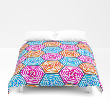 Hexagon Pattern (Bright Blue, Hot Pink, Orange) Graphic Flowers Duvet Cover by AEJ Design