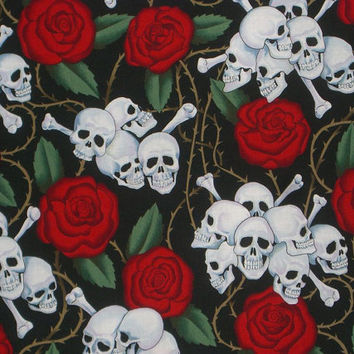 Skulls and Roses Print Pure Cotton Fabric from Alexander Henry--One Yard