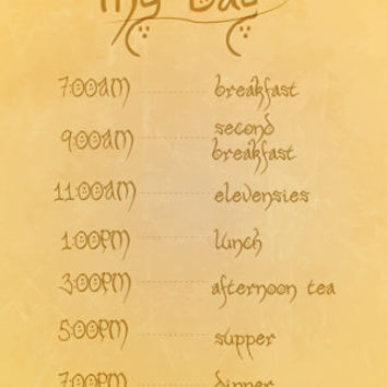hobbit eating schedule.. funny lord of the rings digital download