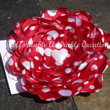 Oversized Red & White Polka Dot Satin Hair Flower or Brooch Pin with White Glitter Heart Accent