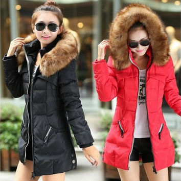 Women's Winter Thicken Keep Warm Down Zipper Jacket Long Cotton-padded Outwear [8833970124]