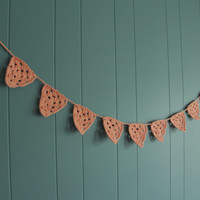 Crochet Bunting Flags  Pennants  peach bunting by Parachet on Etsy