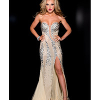 Jasz Couture 2013 Prom - Strapless Nude & Silver Sexy Rhinestoned Gown - Unique Vintage - Cocktail, Pinup, Holiday & Prom Dresses.