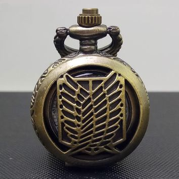 Cool Attack on Titan 1 Pcs New Child toy  Recon Corps Bronze antiques pendant anime action cosplay pocket watch with necklace AT_90_11