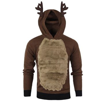 hot sale sweatshirts men Autumn Winter Xmas Hoody Reindeer Feather Hooded Christmas Fur 3D sweatshirt sudaderas