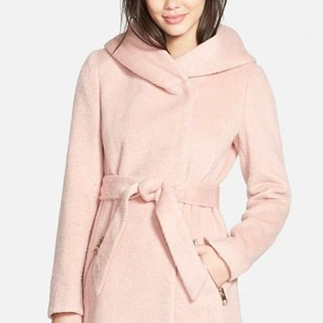 Women's GUESS Hooded Shawl Collar Wrap Coat ,