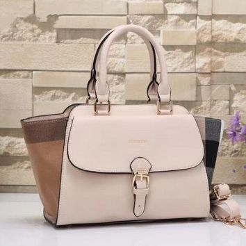 One-nice™ Burberry Women Shopping Leather Tote Handbag Shoulder Bag Rice white