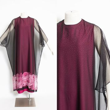 Vintage 1660s Dress - Floral Chiffon Burgundy Polka Dot Caftan Gown 60s - Small