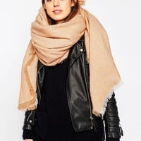 ASOS Oversized Square Scarf With Two Tone Plain Weave at asos.com