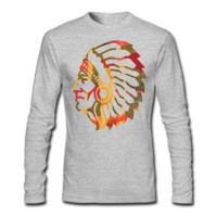 Native American Indian Men's Long Sleeve T-Shirt - Men's Long Sleeve Personalized T Shirt