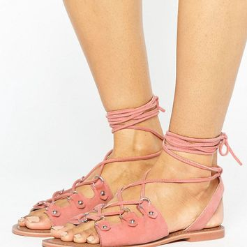 Glamorous Tie Up Coral Suede Flat Sandals at asos.com