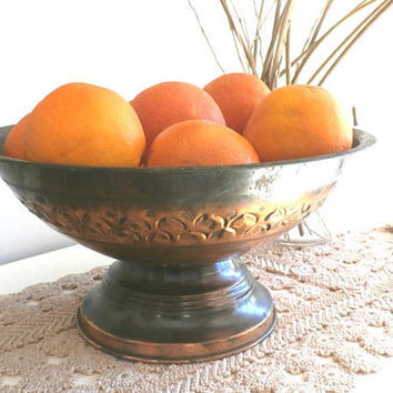 Rose Gold Copper Footed Fruit Bowl, Copper light  patina, Wedding centerpiece, Patina Home Decor, Rustic Serving Decor, housewarming gift