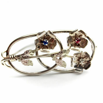 Silver Flower Brooch with Rhinestones / B1