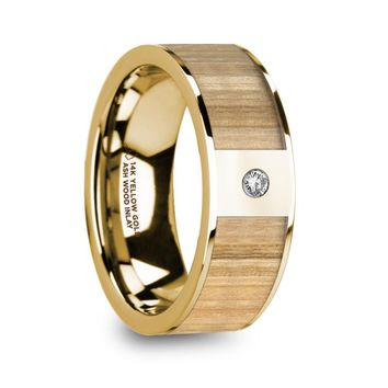 Exotic Ash Wood 14K Yellow Gold Ring with Diamond