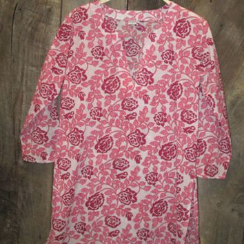 Cotton Tunic Top Burgundy Roses